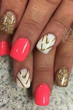 Golden Rose Nails – 36 Summer Nail Designs You Should Try in July – Nagellack Gel Nail Art Designs, Cute Nail Designs, Summer Nail Designs, Nails Design, Striped Nail Designs, Designs For Nails, Coral Nail Designs, Beachy Nail Designs, Nail Designs Easy Diy