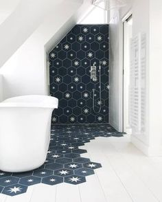 Amazing design by with hexagonal and plain in colours BF and B. We… - Diy Badezimmer Bathroom star! Amazing design by with hexagonal and plain in colours BF and B. We… - Diy Badezimmer Bad Inspiration, Bathroom Inspiration, Bedroom Loft, Star Bedroom, Bedroom Storage, Beautiful Bathrooms, Dream Bathrooms, Small Bathroom, Bathroom Ideas