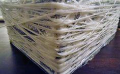 Geschenkkorb aus Wolle einfach selber machen mit einer Vorlage und Kleber