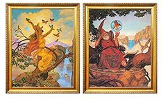 Magical Sorcerer Capture a Lady Butterfly Two Set Golden Framed Fantasy Wizard Wall Decor Art Print Poster Picture Framed Wall Art, Wall Art Decor, Fantasy Wizard, Poster Pictures, Print Poster, Butterfly, Art Prints, Lady, Painting