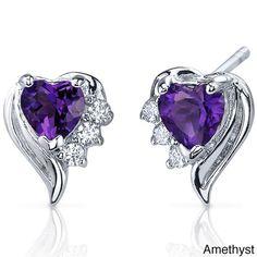 Oravo Sterling Silver Heart-cut Gemstone Stud Earrings (Amethyst), Women's, Size: Small, Purple