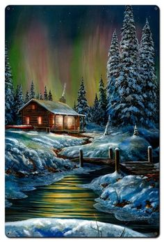 "Jim Hansel ""Fire and Ice"" Northern Lights Art Print SN x Winter Landscape, Landscape Art, Landscape Paintings, Winter Cabin, Winter Art, Winter Night, Beautiful Paintings, Beautiful Landscapes, Borealis Lights"