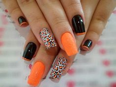 A splash of orange in a leopard nail art design. The black and orange combination on this nail art design is simply stunning. The alternating designs give more dimension and depth into the nails. (Orange Hair Tips) Cheetah Nail Art, Cheetah Nail Designs, Orange Nail Designs, Acrylic Nail Designs, Nail Art Designs, Nails Design, Acrylic Nails, Cheetah Print, Leopard Prints