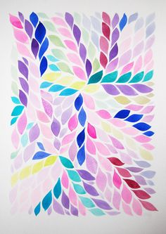 Large Original Floral Watercolour Art Painting, Pink Kew Gardens  I'm thinking maybe with a letter made with the leaf shapes...