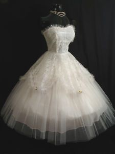 1950's white tulle and lace dress