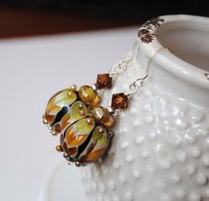 Chevron Lampwork Glass Earrings by bstrung on Etsy