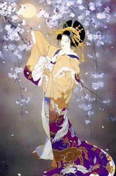 Photo reference inspiration for my geisha tattoo Haruyo Morita Japanese Artwork, Japanese Painting, Japanese Prints, Art Geisha, Geisha Kunst, Art Asiatique, Art Japonais, Japan Art, Art Design