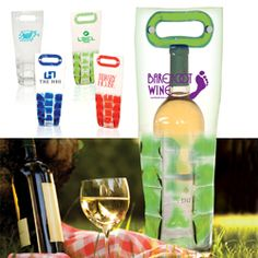 Freezable PVC bottle holder with special cold-holding pockets    Keeps wine bottles chilled for hours    Features a snap-close handle       Contact www.promocow.com for more information