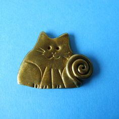 Cat Brooch or Magnet  Fimo Polymer Clay Cat In Gold by Coloraudia, $10.00