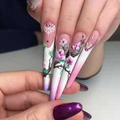 Japanese blossom french on a stiletto set! Beautiful nails by @kosinovanails  Ugly Duckling Nails page is dedicated to promoting quality, inspirational nails created by International Nail Artists  #nailartaddict #nailswag #nailaholic #nailart #nailsofinstagram #nail