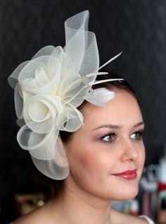 Bridal Hair Fascinator Ivory Bridal Hat Wedding Hair by klaxonek, $159.00