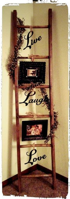 Old ladder redecorated. This would be cute to decorate for each holiday too.: