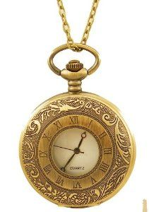"""Steampunk Pocket Watch Pendant -Vintage Style Lid with 28"""" Chain Geneva. $12.99"""