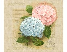 Download Ortensia rosa blu francese ephemera di graphicals su Etsy