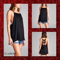 """""""Because I Can"""" Criss Cross Boho Loose Tank Top The """"Because I Can"""" Black Boho Loose Fit Criss Cross Back Tank Top Made in USA Material: 97% Cotton 3% Spandex Sizes: 2/Small, 2/Medium, 2/Large Fits true to size (supposed to be a loose fit) PLEASE DO NOT PURCHASE THIS LISTING PLEASE COMMENT BELOW AND I WILL CREATE A SEPARATE LISTING JUST FOR YOUR PURCHASE Glam Squad 2 You Tops Tank Tops"""
