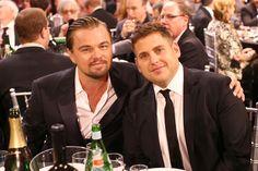 Leonardo DiCaprio and Jonah Hill posed at the Critics' Choice Awards.