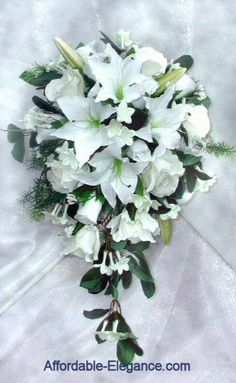 Stargazer Lily Bouquet   White Stargazer Tiger Lily Rose Bridal Bouquet Wedding Silk Flowers ...