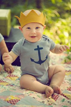 Baby Boy Onesie, Navy Blue Nautical Anchor, Hand Dyed Slate Grey, Short Sleeve, Newborn To 24 Month. $20.00, via Etsy.