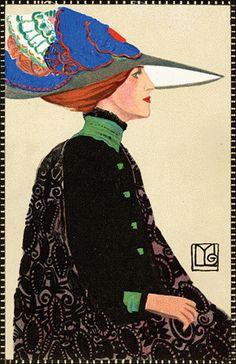 """Maria Likarz-Strauss (1893–1971), """"Fashion,"""" Wiener Werkstätte postcard 557, chromolithograph, 1911."""