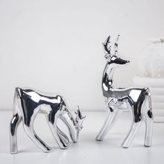 DH silver ceramic reindeer figurine xmas gift for home Ornament christmas deer Craft for home decoration accessories