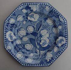 Antique Pottery Pearlware Blue Transfer Brameld Pea Flower Sweet Pea Plate 1820