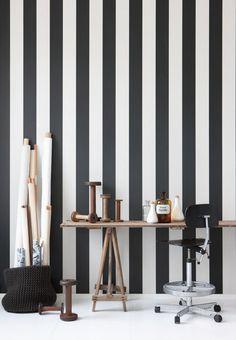 black + white stripe walls / work space