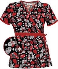 Red Mittens Scrub top- this is seasonal scrubs done right.
