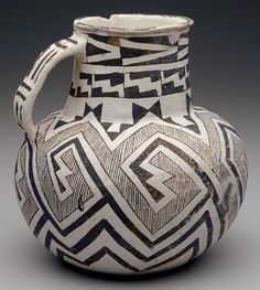 An Anasazi black-on-white pitcher in the Socorro Style, ca. CE 1100-1300.  From the collection of The Minneapolis Institute of Arts, Minneapolis, MN.