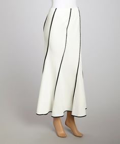 Another great find on #zulily! Ivory & Black Stripe Maxi Skirt - Women & Plus by Come N See, $25 !! #zulilyfinds