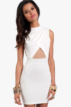 white mesh inset dress