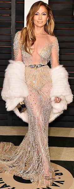 Jennifer Lopez at the Vanity Fair After Party in a Zuhair Murad Couture gown ♔ #Oscar 2015 ♔THD♔