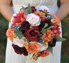 Silk Wedding Flower Bouquet by Holly's Wedding Flowers. Flowers supplied by…