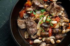 Beef stew, quickly prepared with top sirloin steak, white beans, carrots, onions, tomatoes, and mushrooms.