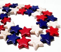 Patriotic Star Beads Red White Blue Star Howlite by BijiBijoux