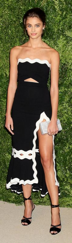Who made Taylor Hill's black and white strapless dress?