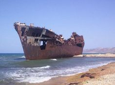 Tunisia, old commercial vessel on the coast of the city of Bizerte