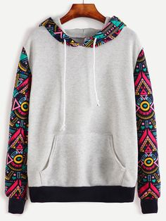 330df8c14 Grey Contrast Sleeve Hooded Sweatshirt