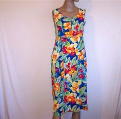 JAMS WORLD Dress Sz S Tropical Floral Hibiscus Sleeveless Crinkled Rayon Pockets…