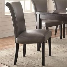 Newbridge Metal Gray Tone Vinyl Dining Chair by Coaster 102882 - Set of 2