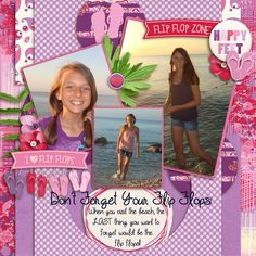 Our girls love going to the beach with their flip flops!! I used FLIP FLOP COLLECTION from ACROSS THE POND found here:  http://store.gingerscraps.net/Flip-Flop-Fun-Collection.html