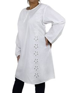 Indian Kurti Plus Size Dresses Summer White Cotton Embroidered (XL/42) ShalinIndia http://www.amazon.in/dp/B00CC8ZBXY/ref=cm_sw_r_pi_dp_3f10tb03DET58RM2