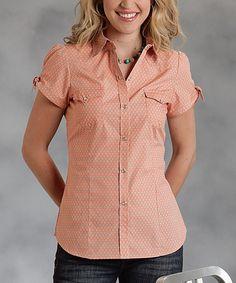 Roper Orange Button-Up Top