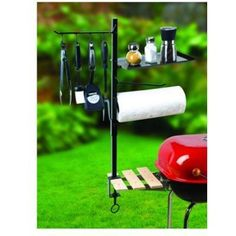 """Maverick BBQ Accessory Organiz by Maverick. $21.71. Maverick BBQ Accessory OrganizFour double-sided hooks for holding your most important barbecue tools. Paper Towel Holder is a must have when grilling up your favorite messy sauce or marinade recipe. Shelf for your spices, and/or cooking gadgets. Also acts as a cover for the paper towels. Large 3-1/2"""" screw clamp mounts to any grill or table. Our ACCESSORY ORGANIZER makes cooking easier. Now you can have BBQ tool..."""