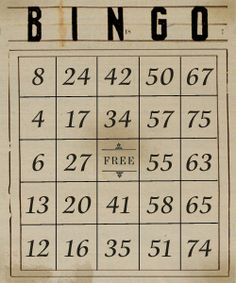 free digital vintage bingo sheets