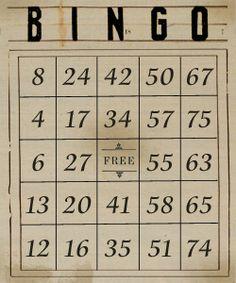 free digital vintage bingo sheets