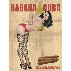 Pinup CUBAN Cigar Girl Vintage Poster Cuba Tobacco Photo Print ART 18x24 Havana Fishnets