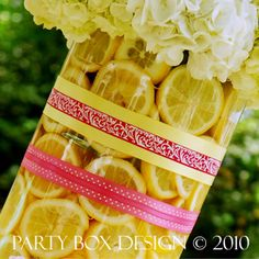 cupcakes and lemonade floral, lemon floral arragement, party flowers via party box design, lemons, lemonade, pink lemonade party