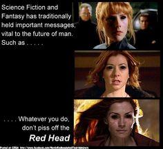 Don't piss off a redhead :)