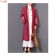 Dropped Shoulder Long Lantern Embroidered Sleeve Linen Silk Casual Trench Summer Sun-protection Vintage Long Coat Outerwear #Affiliate
