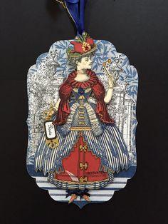 Paper Doll Marie Antoinette Art Tag Ornament by ParisPluie on Etsy
